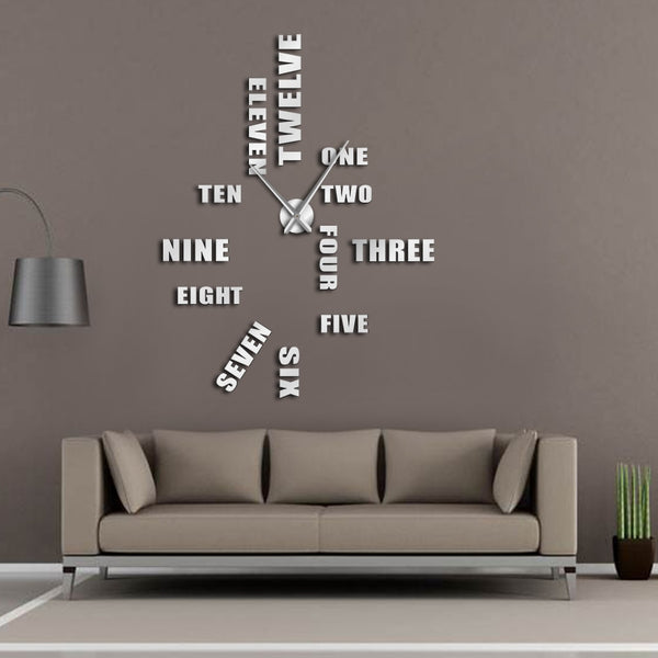 English Letter Number Large Wall Clock Modern Design DIY Wall Watch Home Decoration Accessories Frameless Giant Wall Clock - Slabiti
