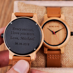 Engraved Wood Watches for Men Women Anniversary Lovers' Engagement Gift Personalized Watch for Father Gift for Son - Slabiti