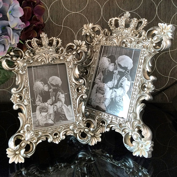 Europe Creative photo frame resin glass photo frames table top Wedding photography props crown  photo frame Home decoration