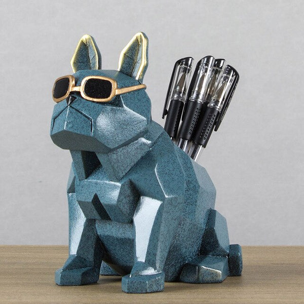 Europe Creative spectacle dog Resin miniature figurines tabletop crafts Pen container home decor Office storage box