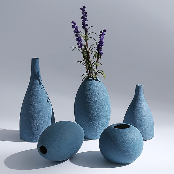 Europe small vase Grind glaze ceramics Black blue Grey vases Flower arts and crafts home decoration accessories modern