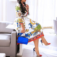 Fall Autumn 2019 Lapel Mid-Calf High Waist Dress Big Plus Size Geometric Printed Elegant Office Ladies Tunic Pleated Midi Dress - Slabiti