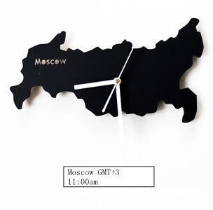 Famous Russia Moscow Map Time Wall clock, Metal Brief Home Hotel Watch - Slabiti