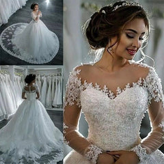 Fansmile 2020 Luxury Lace Embroidery Vestido De Novia Long Sleeve Wedding Dress Train Elegant Plus size Bridal Gowns FSM-035T - Slabiti