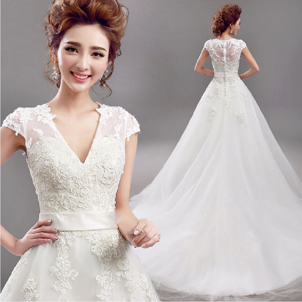 Fansmile 2020 Vestido De Noiva Short Sleeve V Neck Vintage Lace Ball Wedding Dress Bridal Tulle Mariage FSM-640T - Slabiti