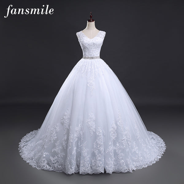 Fansmile Backless Lace Long Train Ball Wedding Dresses 2020 Bridal Dress Wedding Gowns Vestidos de Novia Robe de Mariee FSM-099T - Slabiti