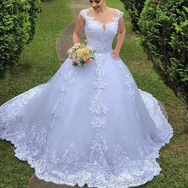 Fansmile Illusion Vestido De Noiva Backless Ball Gown Wedding Dress 2020 Train Cap Sleeve Wedding Gown Bride Dress FSM-031T - Slabiti