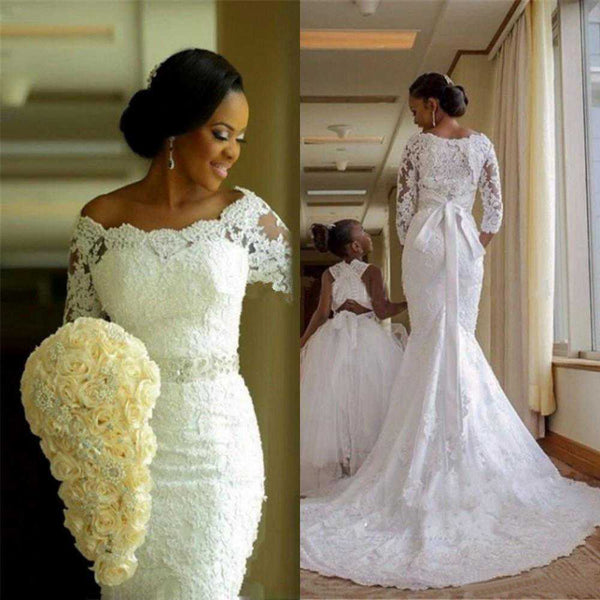 Fansmile New Vestido De Noiva Lace African Mermaid Wedding Dress 2020 Customized Plus Size Pearls Bridal Wedding Gowns FSM-495M - Slabiti