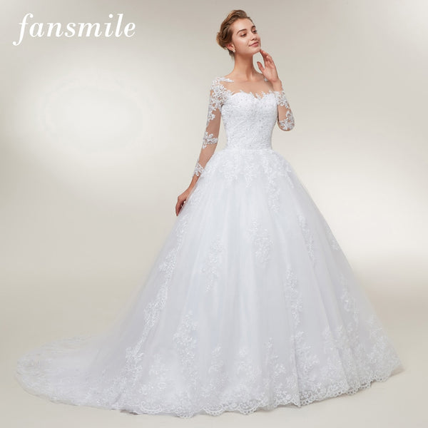 Fansmile Tulle Mariage Lace Ball Gowns Wedding Dresses 2020 Long Train Vestido De Noiva Custom-made Plus Size Wedding FSM-401T - Slabiti