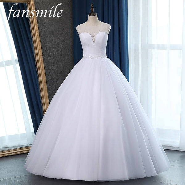 Fansmile Tulle Vestidos de Novia Vintage Ball Gown Beading Wedding Dress 2020 Princess Quality Lace Wedding Bride Gowns FSM-054F - Slabiti