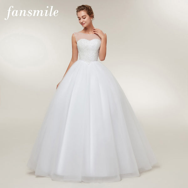 Fansmile Vestido De Noiva Luxury Crystal Ball Wedding Dresses 2020 Vestido De Noiva Custom-made Plus Size Wedding Gowns FSM-400F - Slabiti