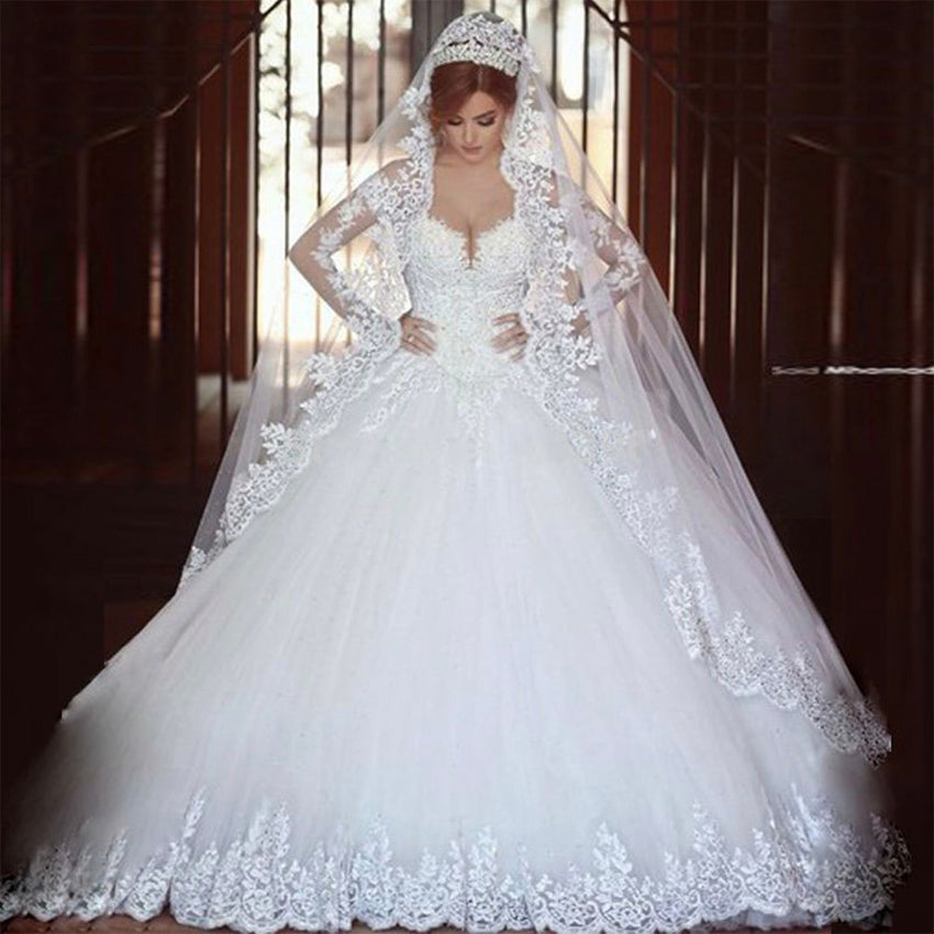 Fansmile Vestido De Noiva Vintage Full Sleeves Lace Wedding Dress 2020 Luxury Ball Gown Princess Bridal Wedding Gowns FSM-026T - Slabiti