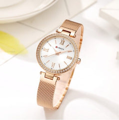 Fashion 2018 Watch CURREN Women Bracelet Wristwatch Dress Ladies Crystals Watches Steel Band Gift Relogio Feminino Gold relojes - Slabiti