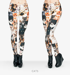 Fashion Animal Shapes Cats 3D Full Printing Punk Women Legging Slim Fit Trousers Casual Pants Leggings - Slabiti
