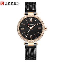 Fashion Brand CURREN Crystal Design Quartz Ladies Wristwatches Stainless Steel Mesh Band Casual Women Watch Ladies Watches Gift - Slabiti