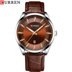 Fashion Casual Watches Clock CURREN New Men Luxury Brand Watch Simple Quartz Wristwatch with Leather Male Watches Black - Slabiti