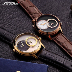 Fashion Golden Men Wristwatches Sinobi Creative 2 Quartz Movement Clock Analog Leather Strap Men's Business Watch China Sale - Slabiti