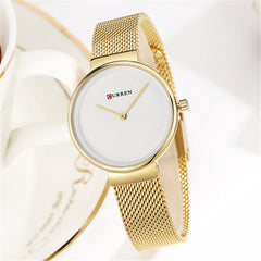Fashion Mesh Womens Watch Simple Dress Quartz Ladies Bracelet Watches CURREN Full Stainless Steel Wristwatch Bayan Kol Saati - Slabiti