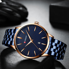 Fashion Quartz Watches for Men CURREN New Men's Watch Stainless Steel Band Clock Male Blue Wristwatch Causal Business Watch - Slabiti