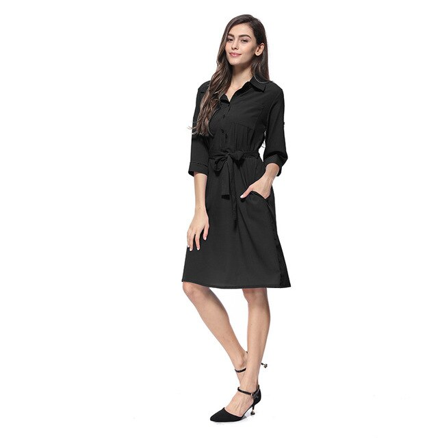 Fashion Seven-point Sleeves Belt Solid Color Autumn and Winter Dress Women - Slabiti