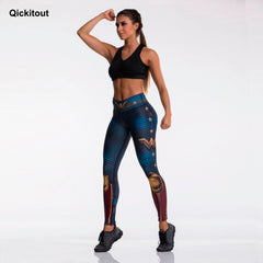 Fashion Tibetan Blue Captain Fight Push Up Workout Leggings Slim High Waist Jeggings Women Sexy Sportswear Leggings Workout - Slabiti
