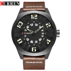 Fashion Unique Big Digital Watches For Man Casual Men's Quartz Wristwatches Luxury Brand CURREN Leather Strap With Date - Slabiti