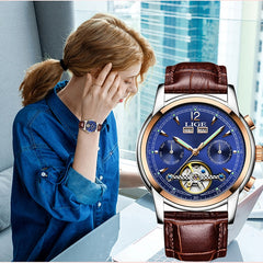 Fashion Women's Watches Top Brand Luxruy LIGE Automatic Watch women Waterproof Sport Clock Ladies Leather Business Wrist watch - Slabiti