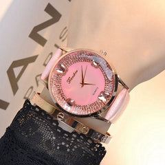 Female Genuine Leather Quartz Watch Fashion Leisure Set With Butterfly Diamond Color Watch Band Decorative Watch Schoolgirl - Slabiti