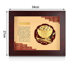 Feng shui 3D Chinese painting Gold Wealth bowl painting framed picture 24k Gold foil painting Wall art pictures Gifts Home decor - Slabiti