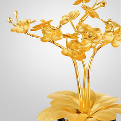 Feng shui decor 24K gold foil Butterfly Orchid Creative Artificial Flower Plant Luxury Crafts Collect Wealth Home office Decor - Slabiti