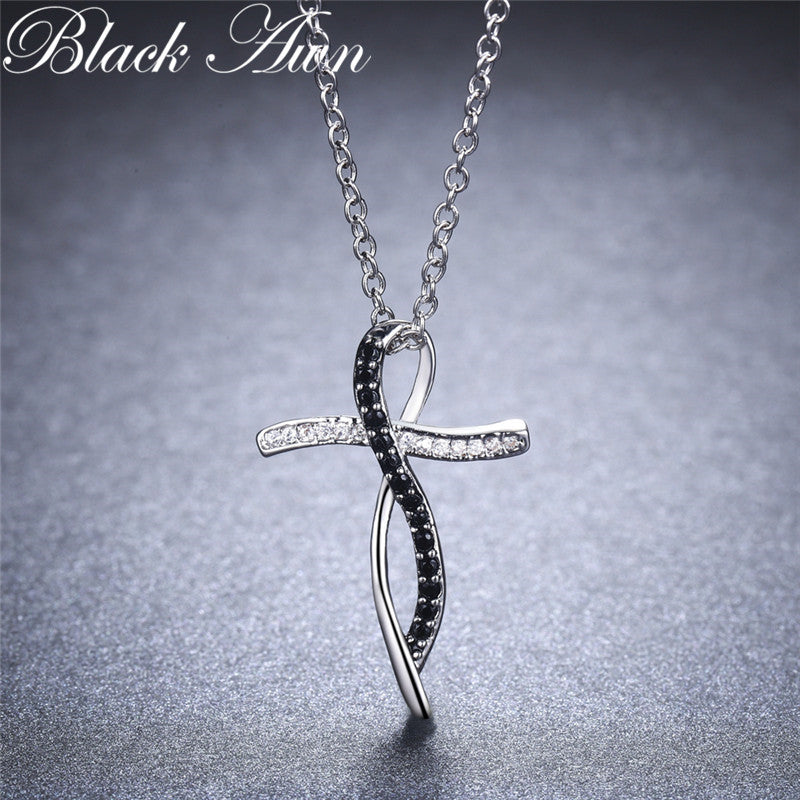 Fine Genuine 100% 925 Sterling Silver Necklace Women Jewelry Black&White Stone Necklaces Pendants P114 - Slabiti
