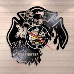 Firefighter Clock Fire Dept Wall Decor Wall Clock Firemen Helmet Fire Rescue Vinyl Record Wall Clock Burned Maltese Cross Clock - Slabiti