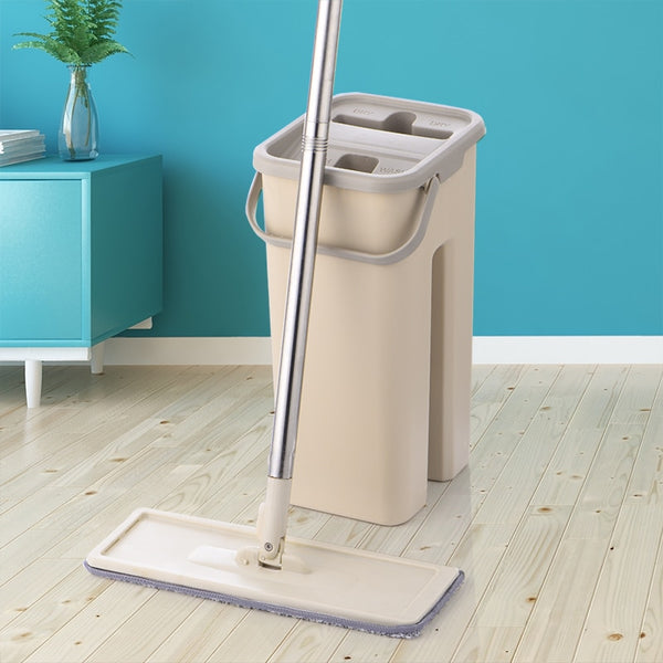 Flat Squeeze Mop and Bucket Hand Free Wringing Floor Cleaning Mop Microfiber Mop Pads Wet or Dry Usage on Hardwood Laminate Tile - Slabiti