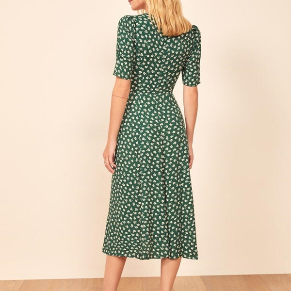 Floral Midi Dress Women Spring Vantige Dress Bodycon Sexy Dress Ladies Green Print Dress Clothing  LF19DR4352 - Slabiti