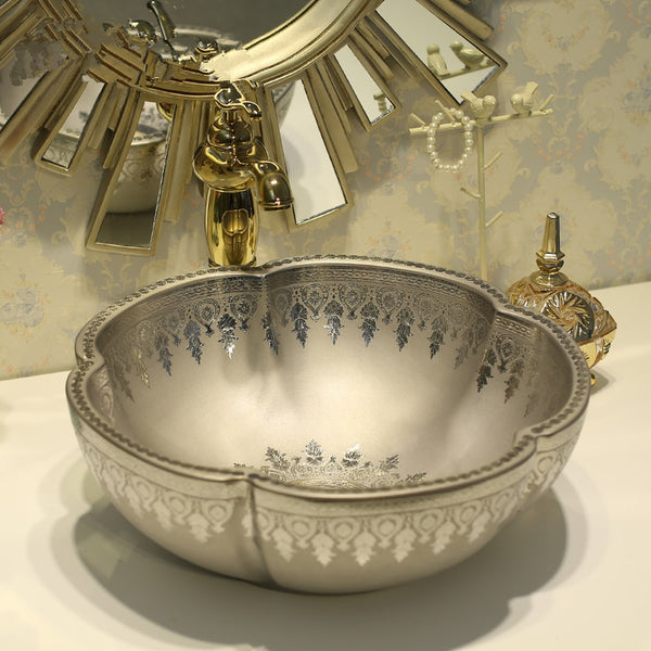Flower Counter Top Wash Basin Cloakroom Hand Painted Vessel Sink bathroom sinks silver counter washbasin LO741108
