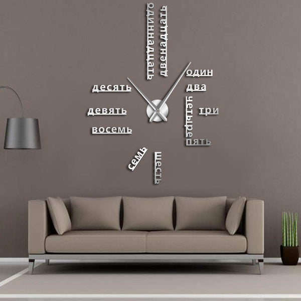 Foreign Language DIY Giant Wall Clock Large Soviet Russian Numbers Big Clock Watch Baby Room Preschool Decoration Russian Watch - Slabiti