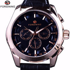 Forsining 2017 3 Dial 6 Hands Rose Golden Case Male Wristwatch Genuine Leather Band Mens Watch Top Brand Luxury Automatic Watch - Slabiti