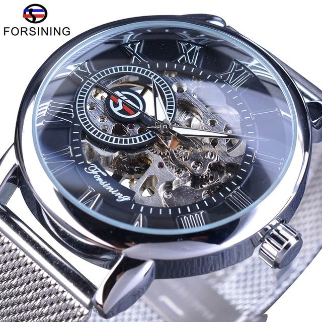 Forsining 2017 Fashion Black Stainless Steel Street Series Open Work Skeleton Mens Mechanical Wrist Watch Top Brand Luxury Clock - Slabiti