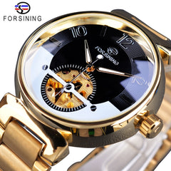 Forsining 2017 Mysterious Creative Design Golden Stainless Steel Mens Watch Top Brand Luxury Automatic Skeleton Wristwatch Clock - Slabiti