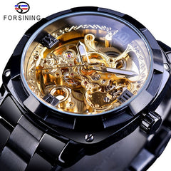 Forsining 2018 Fashion Retro Men's Automatic Mechanical Watch Top Brand Luxury Full Golden Design Luminous Hands Skeleton Clock - Slabiti