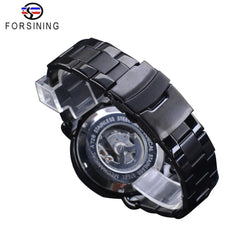 Forsining 2018 Racing Sport Watch Fashion Full Black Clock Stainless Steel Luminous Men's Automatic Watches Top Brand Luxury - Slabiti