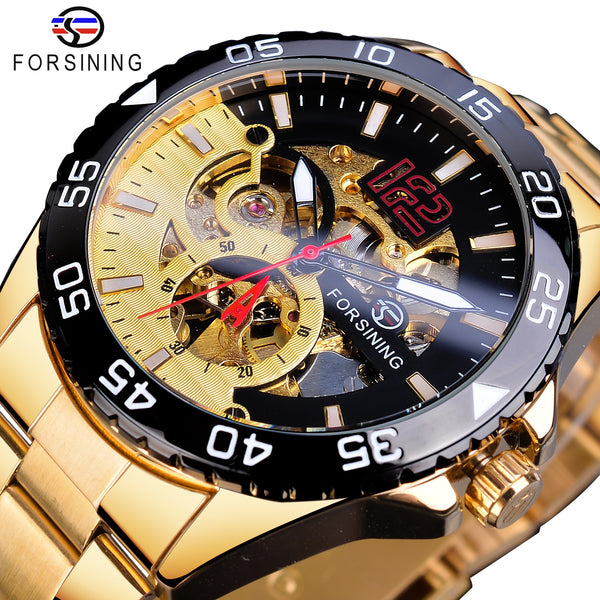 Forsining 2019 Golden Mechanical Mens Wristwatches Fashion Skeleton Automatic Clock Top Brand Luxury Waterproof Erkek Kol Saati - Slabiti