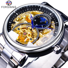 Forsining 2019 Royal Luxury Moon Phase Design Mens Golden Transparent Open Work Automatic Mechanical Wristwatch Top Brand Luxury - Slabiti