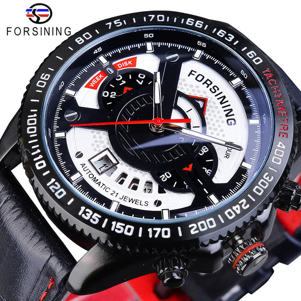 Forsining Analog Multifuncional Sport Automatic Wristwatch Leather Belt Military Calendar Mechanical Male Clock Top Brand Luxury - Slabiti