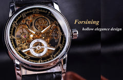 Forsining Automatic Watch Transparent Men Fashion Casual Genuine Leather Mens Skeleton Watches Top Brand Luxury Male Wristwatch - Slabiti