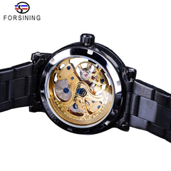 Forsining Black Luxury Nail Bezel Antique Steampunk Men Skeleton Mechanical Watch Steel Top Brand Automatic Royal Flower Engrave - Slabiti