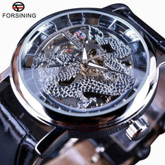 Forsining Chinese Simple Design Transparent Case Mens Watches Top Brand Luxury Skeleton Watch Sport Mechanical Watch Male Clock - Slabiti
