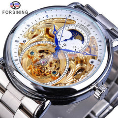Forsining Classic Black Golden Clock Black Stainless Steel Fashion Blue Hands Design Men's Automatic Watches Horloges Mannen - Slabiti