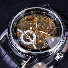 Forsining Classic Hollow Engraving Skeleton Casual Designer Black Golden Gear Bezel Watches Men Luxury Brand Automatic Watches - Slabiti