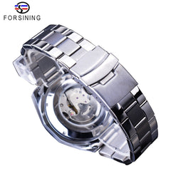 Forsining Date Display Luminous Hands Complete Calendar Men's Automatic Watches Top Brand Luxury Silver Stainless Steel Bracelet - Slabiti